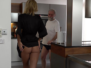 Grandpa's covetous of young pussy