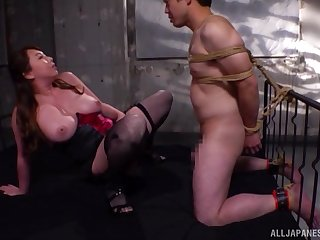 Passionate and busty Kazama Yumi takes a friend's penis nigh her tiny pussy
